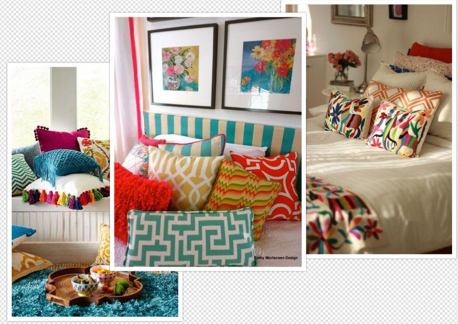 kumpulan bantal warna warni di kasur menjadikan tempat tidur keren dan unik