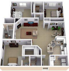 20 gambar denah rumah minimalis dengan 3 kamar tidur