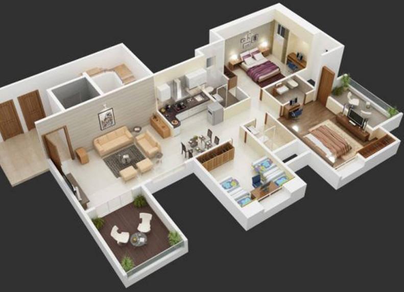 contoh keren rumah minimalis 3d 3 kamar tidur