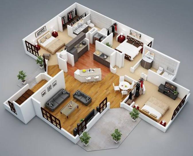 Denah Keren Rumah Minimalis 3d 3 Kamar Tidur & Desain Rumah 3d 3 Kamar Tidur \u0026 Full Size Of Uncategorized:50 Denah ...