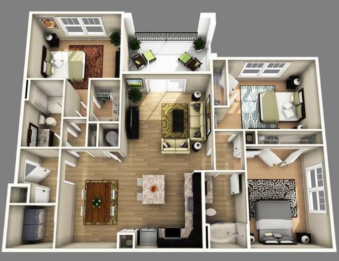 denah paling keren rumah minimalis 3d 3 kamar tidur