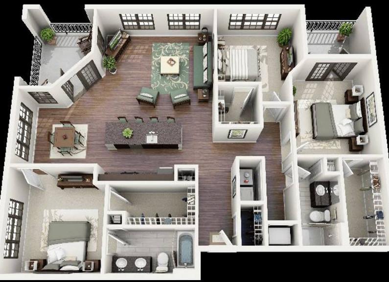 denah rumah bagus minimalis kecil dengan 3 kamar tidur