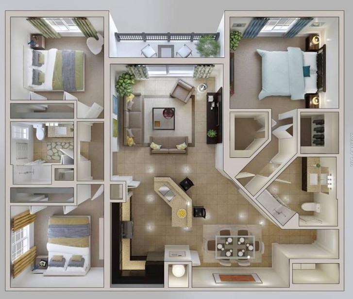 denah rumah minimalis 3 kamar tidur modern