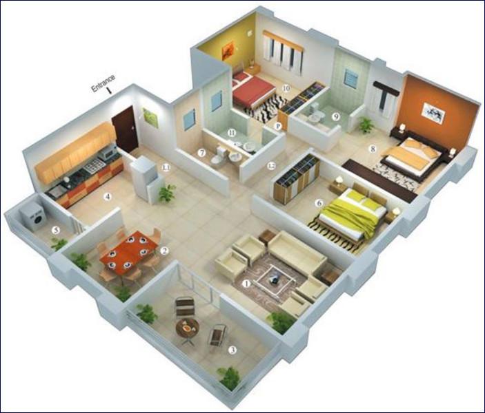 denah rumah minimalis modern 3 kamar tidur terbaru