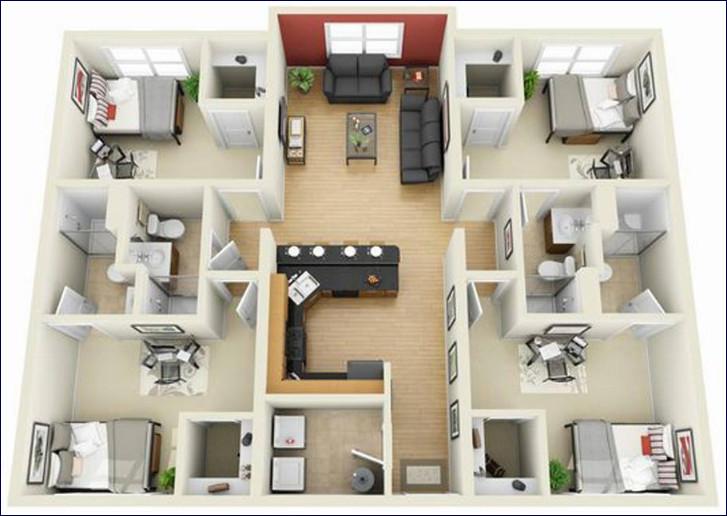 desain denah rumah minimalis 3d 4 kamar tidur sempit