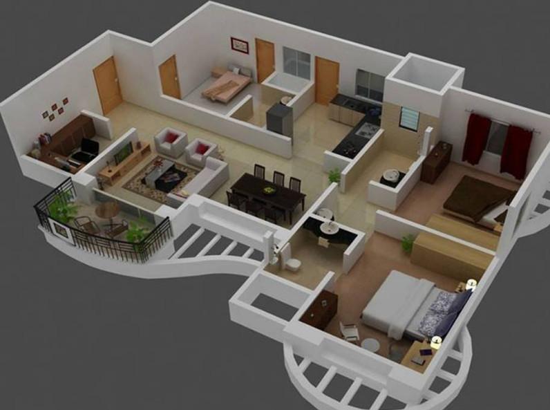 gambar denah rumah minimalis 3 kamar desain bagus
