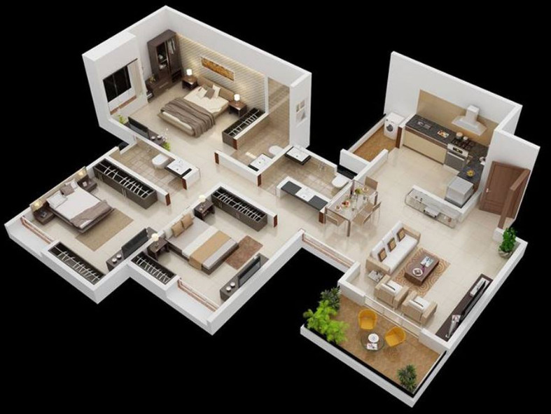 gambar denah rumah minimalis sempit 3 kamar tidur