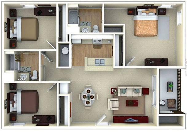 model rumah minimalis 1 lantai dengan 3 kamar tidur modern