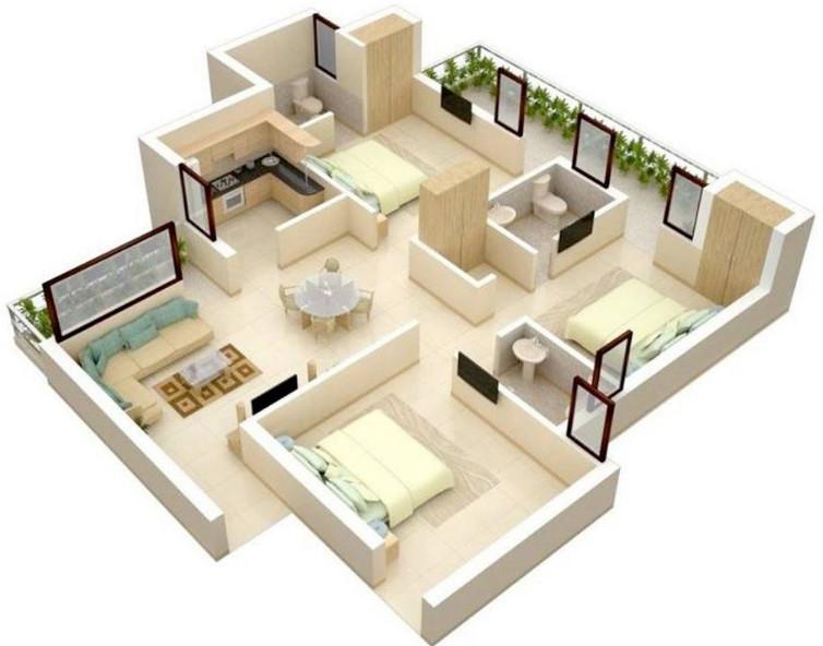 modern rumah minimalis 3 kamar tidur 1 lantai