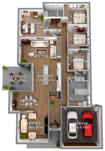 rumah minimalis 3 kamar tidur dan garasi untuk 2 mobil