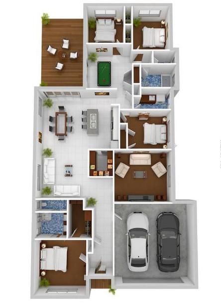 rumah minimalis memanjang dengan 4 kamar tidur dan garasi untuk 2 mobil