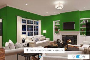 warna hijau pada ruang tamu