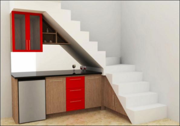 Desain Dapur Kecil di Bawah Tangga