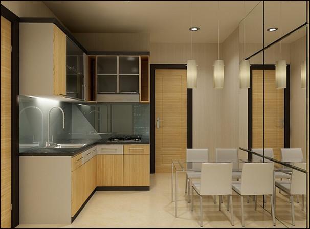 dapur minimalis dengan kitchen set motif lurus