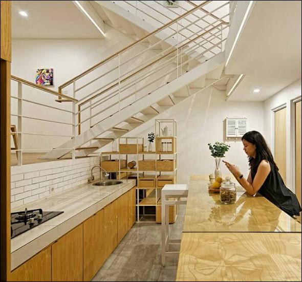 interior rumah mungil modern minimalis ruang dapur cantik menawan