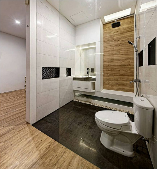 interior rumah mungil modern minimalis ruang kamar mandi