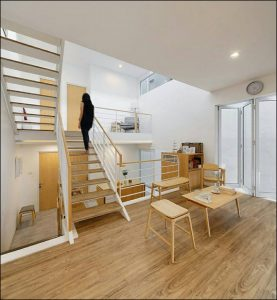 interior rumah mungil modern minimalis ruang mezanine menuju ke atas