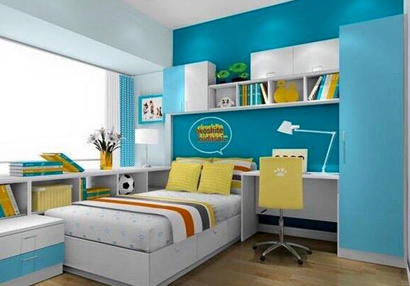 kamar tidur anak warna biru cerah