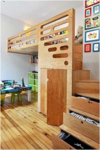 tempat tidur anak nuansa kayu