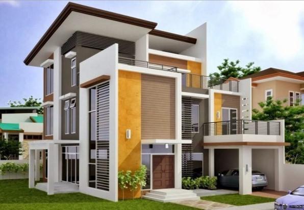 warna lembut pada eksterior rumah