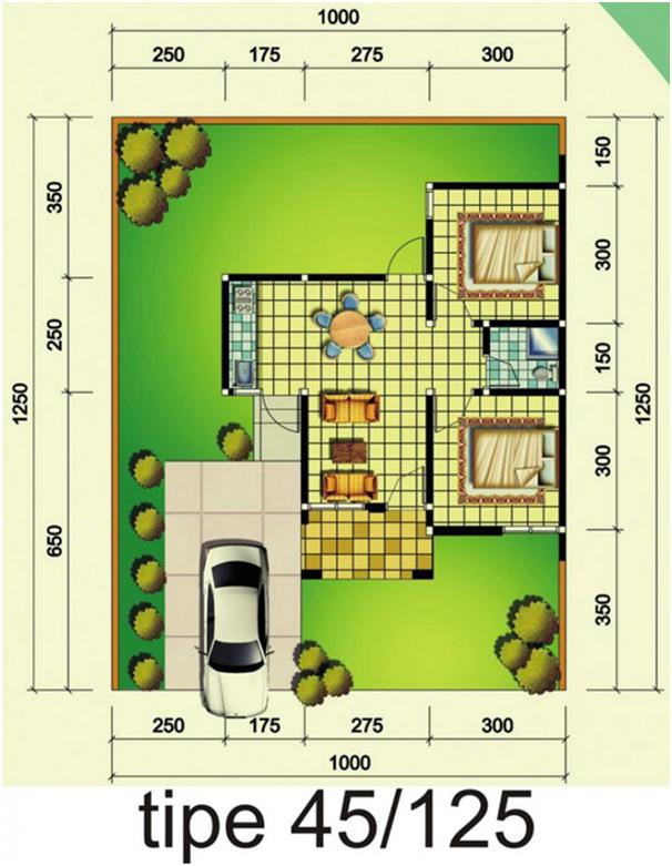 denah rumah 45 125