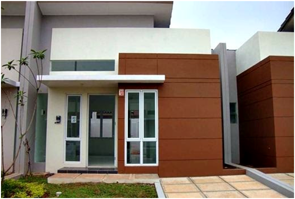 putih coklat rumah tampak depan