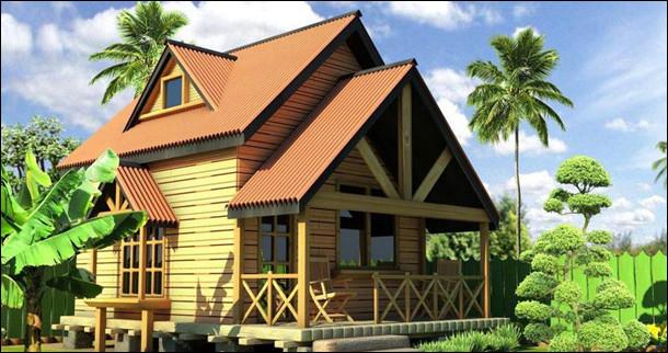 rumah di desa dengan bambu dan kayu