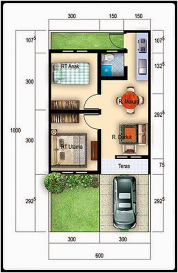 tipe rumah 36 dengan taman belakang