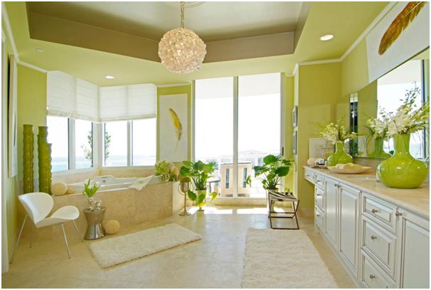 warna hijau segar untuk interior kamar mandi