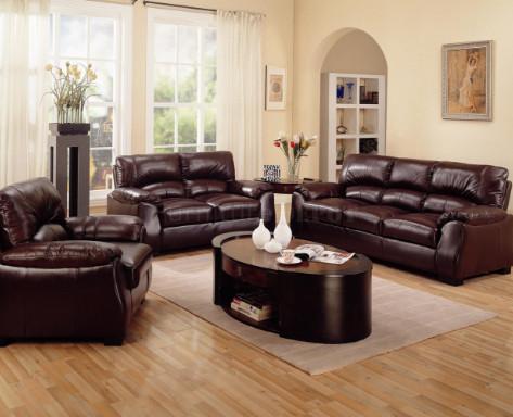 dekorasi ruang tamu dengan sofa warna coklat - desain