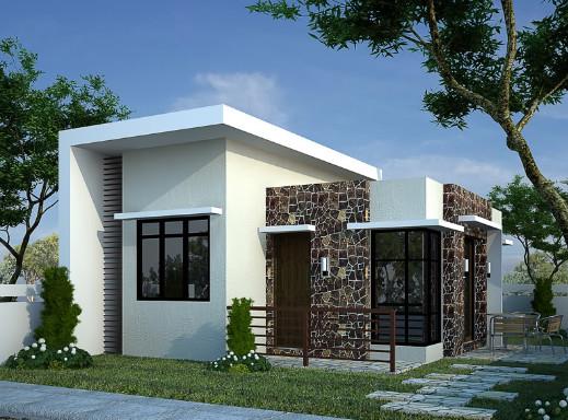rumah minimalis kotak dengan batuan alami