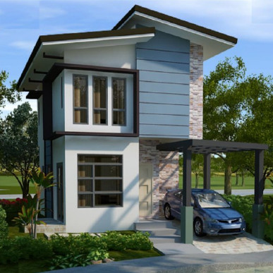 rumah minimalis tingkat 2 tampak depan batu alami