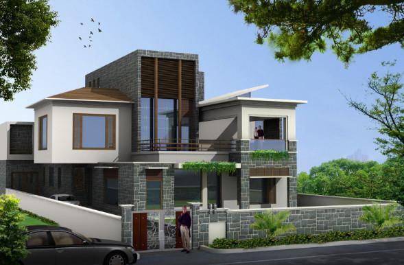 rumah modern tampak depan dengan batuan alami yang indah
