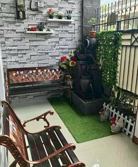 taman portable di teras rumah