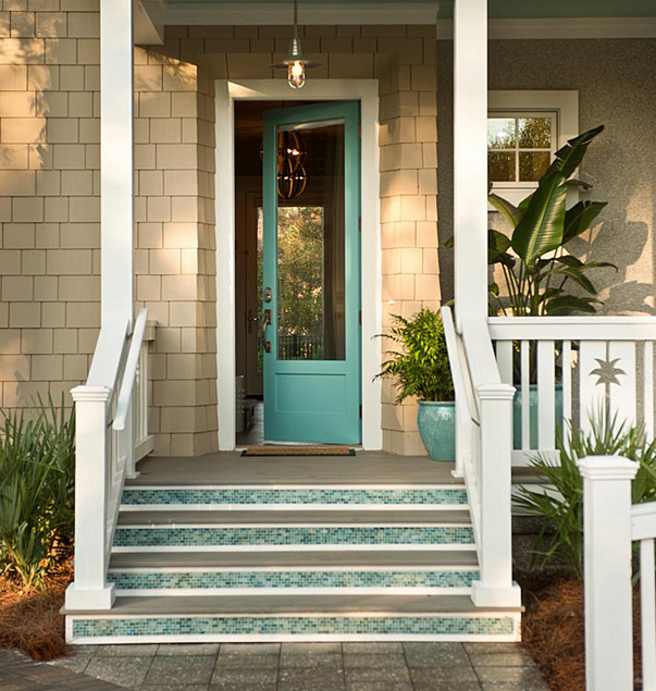 pintu rumah minimalis gaya eropa warna biru tosca