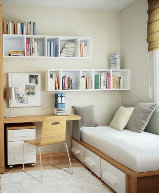 ruang kamar tidur sempit minimalis