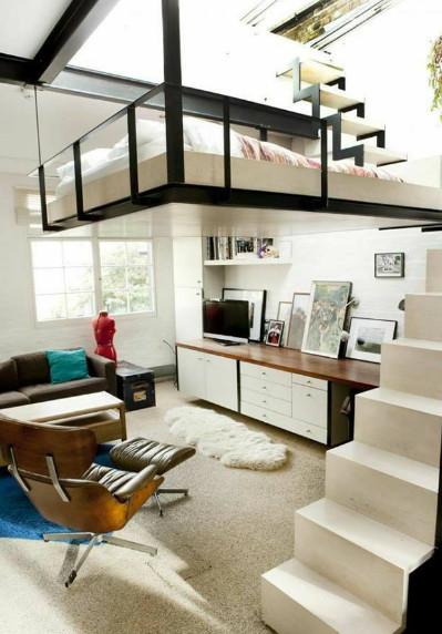 konsep tangga mezanine keren pada kamar