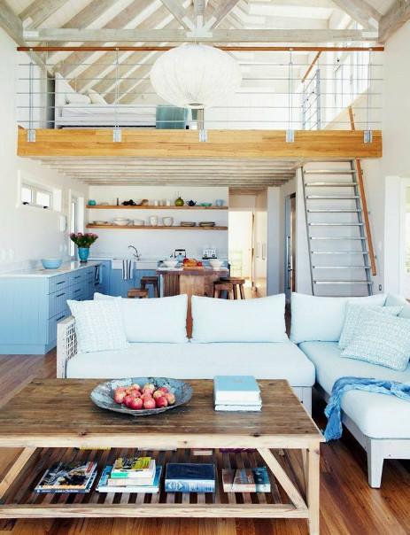 ruang tamu rumah konsep mezanine