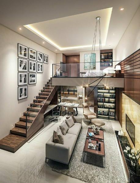 rumah sempit terasa lega dengan konsep mezanine