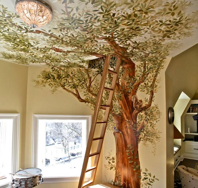 rumah pohon buatan di dalam rumah