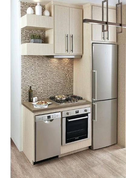 dapur minimalis satu set dengan furniture dan kulkas
