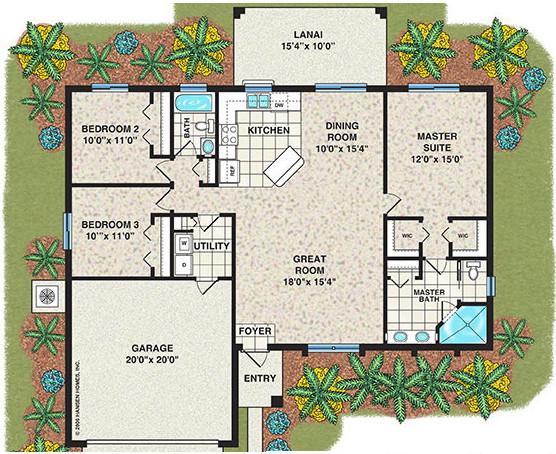 denah rumah minimalis 1 lantai dengan 3 kamar tidur dan garasi