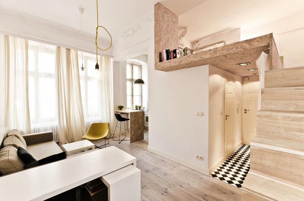 desain kamar keren modern dengan mezanine untuk kasur atas