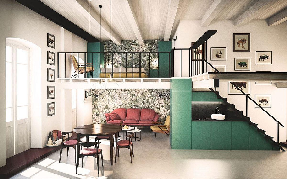 desain kontemporer klasik rumah dengan mezzanine di dalamnya