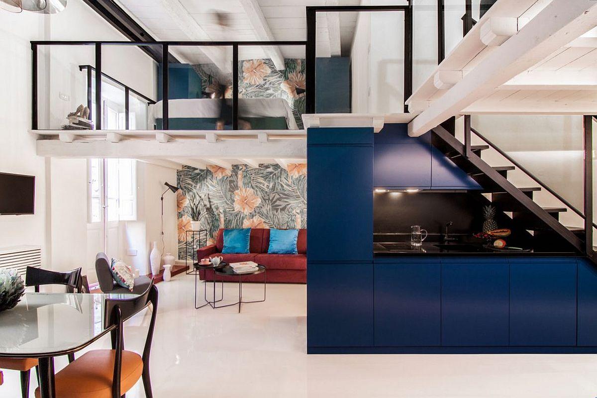 desain rumah dengan ruang mungil memakai mezzanine