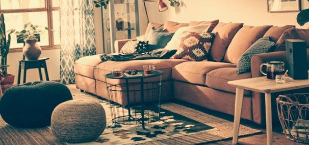 Sofa Gronlid dari Ikea dengan Warna Coklat Muda