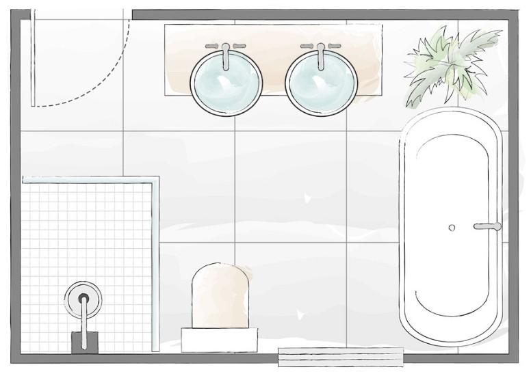 contoh layout kamar mandi yang lega dan besar ada bathtubnya dan washtafel