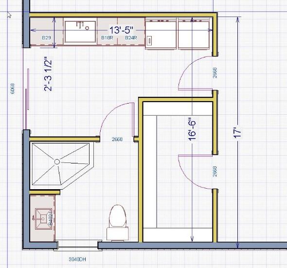 posisi kamar mandi di sudut pojok rumah