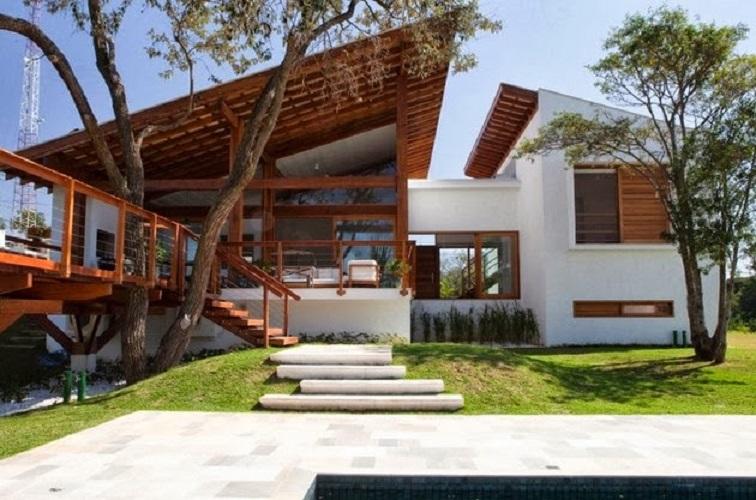 Model Rumah Minimalis Modern Menyatu Dengan Alam Desain