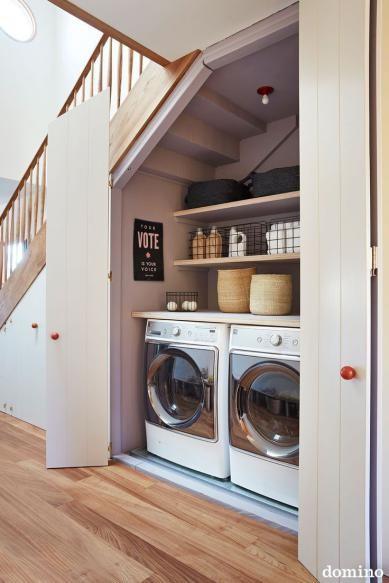 Dekorasi bergabung mesin cuci di dapur